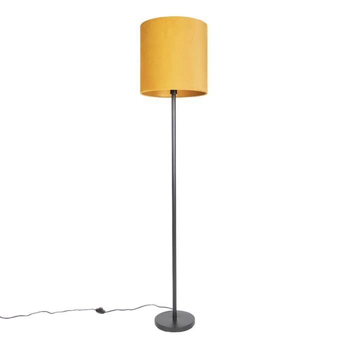 Art-Deco-vloerlamp-zwart-met-gele-kap-40-cm---Simplo