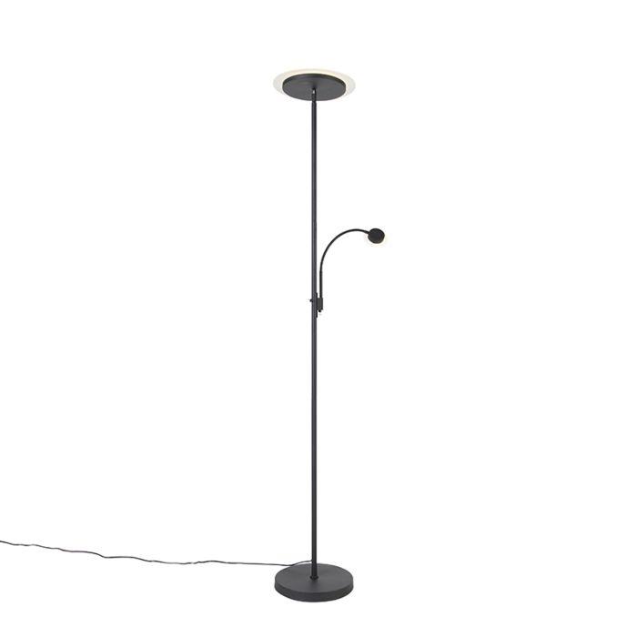Moderne-vloerlamp-zwart-incl.-LED-met-leesarm---Chala