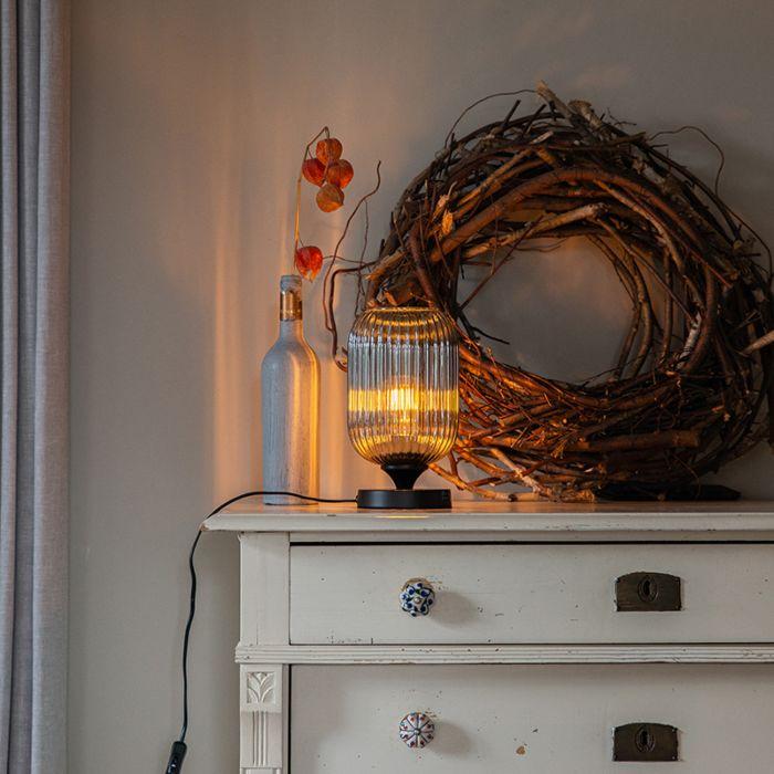 Art-Deco-tafellamp-zwart-met-smoke-glas---Banci