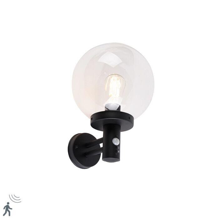 Buiten-wandlamp-zwart-met-helder-glas-incl.-bewegingsmelder---Sfera