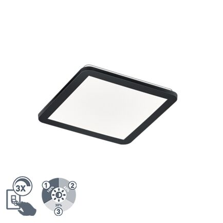Plafonnière-vierkant-zwart-30-cm-incl.-LED-3-staps-dimbaar-IP44---Lope