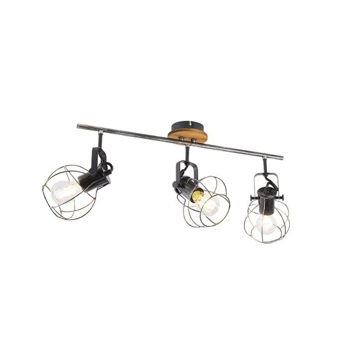 Industriële-plafondspot-staal-met-hout-62-cm-3-lichts---Torce