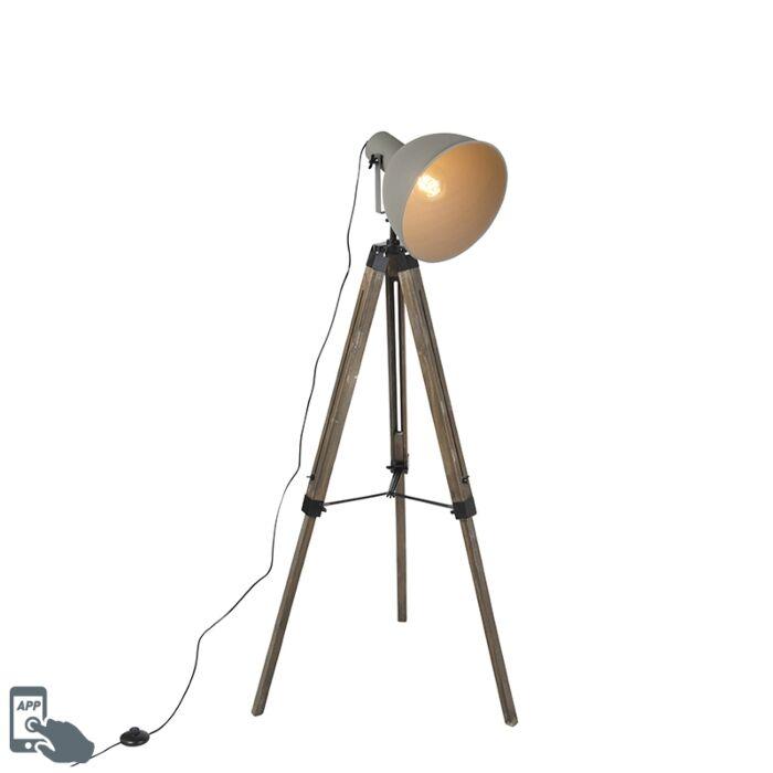 Smart-industriële-tripod-vloerlamp-hout-met-grijs-incl.-wifi-A60---Laos