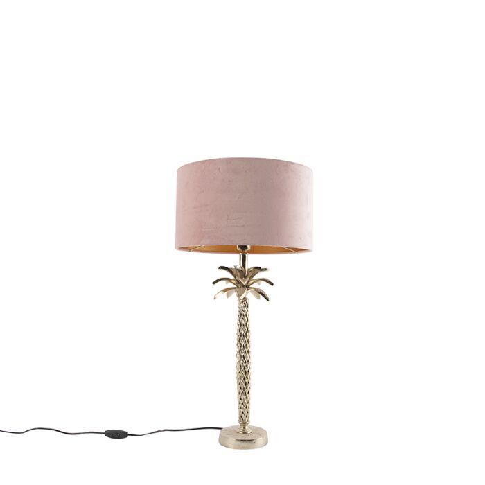 Art-Deco-tafellamp-goud-met-velours-roze-kap-35-cm---Areka