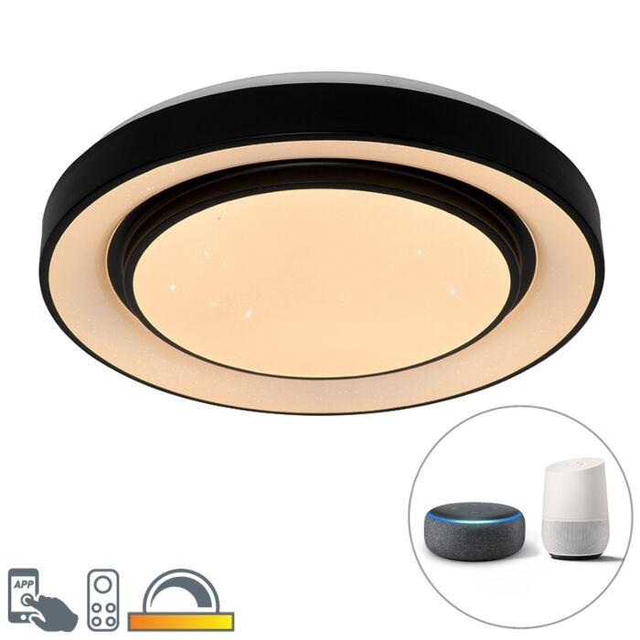 Moderne-smart-plafondlamp-zwart-48-cm-incl.-LED-en-RGB---Jochie