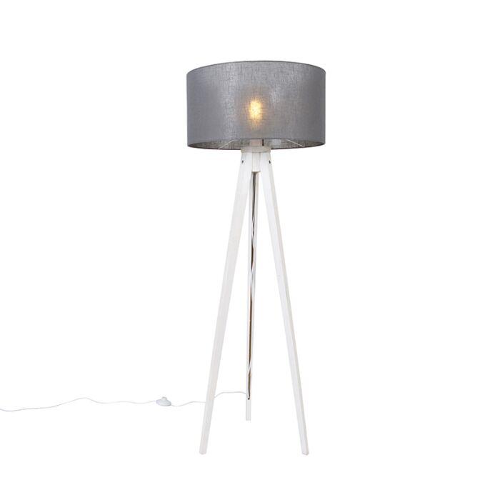 Moderne-vloerlamp-tripod-wit-met-kap-grijs-50-cm---Tripod-Classic