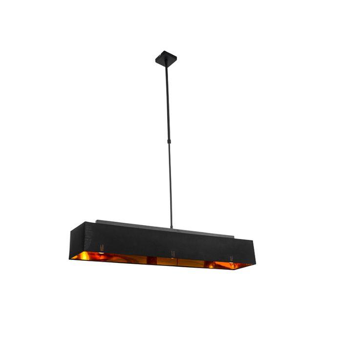 Moderne-hanglamp-zwart-met-goud-90-cm-3-lichts---VT-1