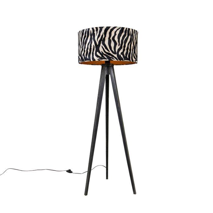 Vloerlamp-tripod-zwart-met-kap-zebra-50-cm---Tripod-Classic