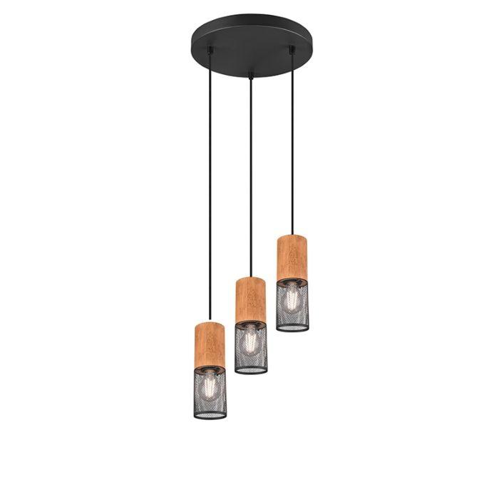 Industriële-hanglamp-zwart-met-hout-3-lichts---Manon