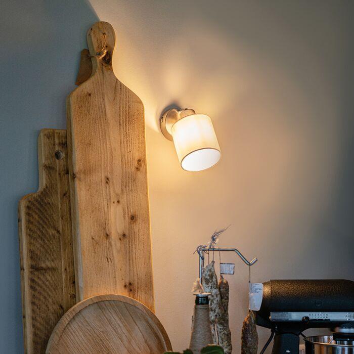 Moderne-wandlamp-staal-met-witte-kap-verstelbaar---Hetta