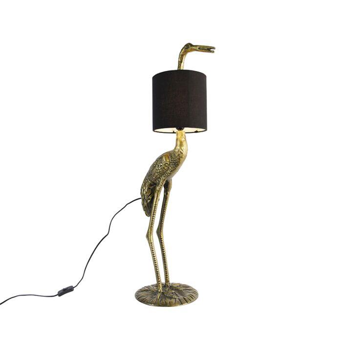Vintage-vloerlamp-messing-stoffen-kap-zwart---Kraanvogel-To