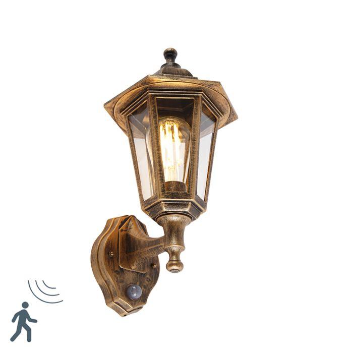 Klassieke-buitenwandlamp-antiek-goud-met-bewegingssensor---New-Haven
