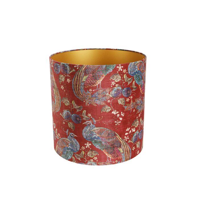 Velours-lampenkap-pauw-rood-40/40/40-gouden-binnenkant