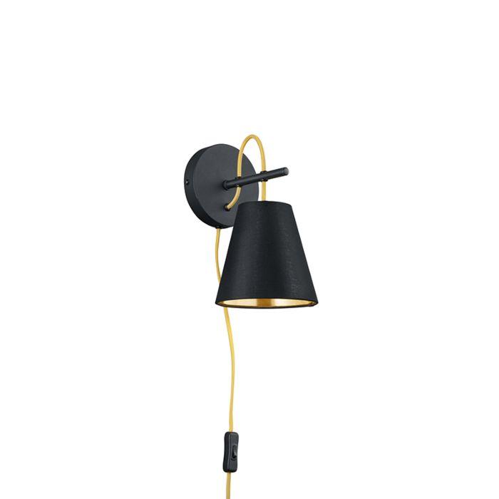 Moderne-wandlamp-zwart-met-schakelaar---Andries
