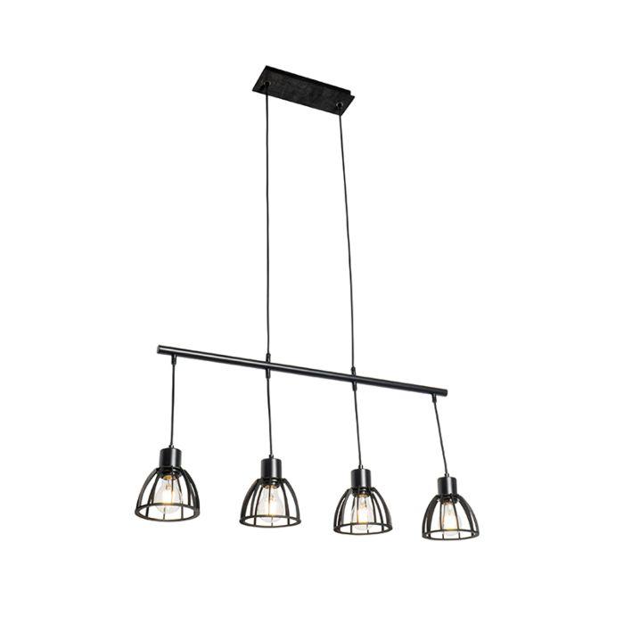 Industriële-hanglamp-zwart-4-lichts---Fotu