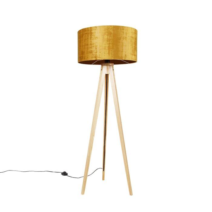 Vloerlamp-hout-met-stoffen-kap-goud-50-cm---Tripod-Classic
