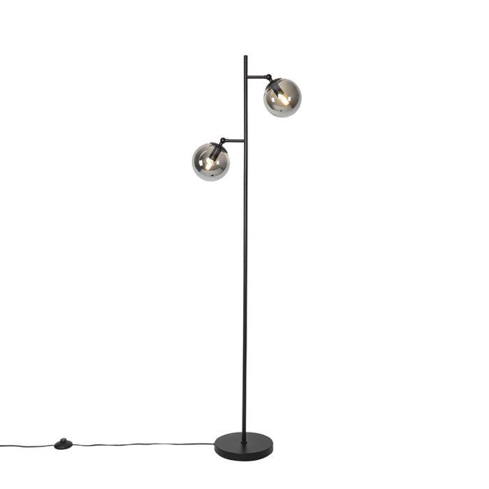 Art-Deco-vloerlamp-zwart-met-smoke-glas-2-lichts---Pallon