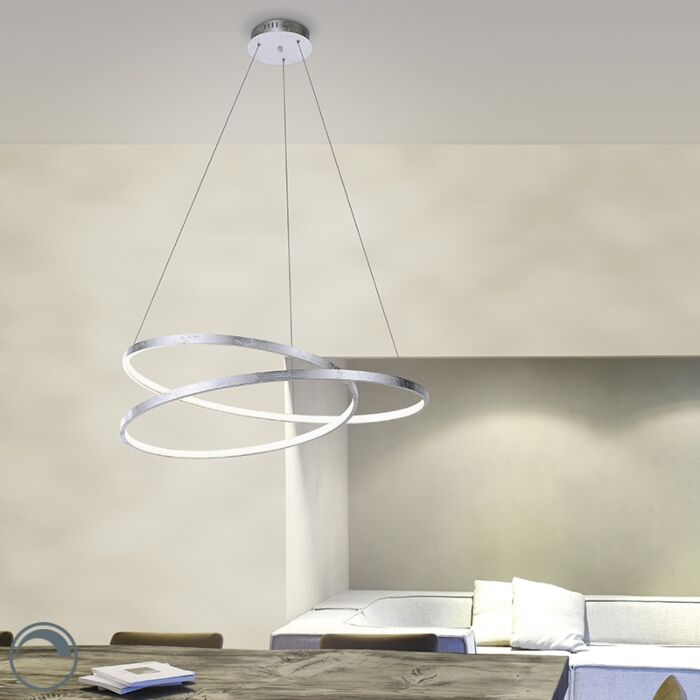Design-hanglamp-zilver-72-cm-incl.-LED-dimbaar---Rowan