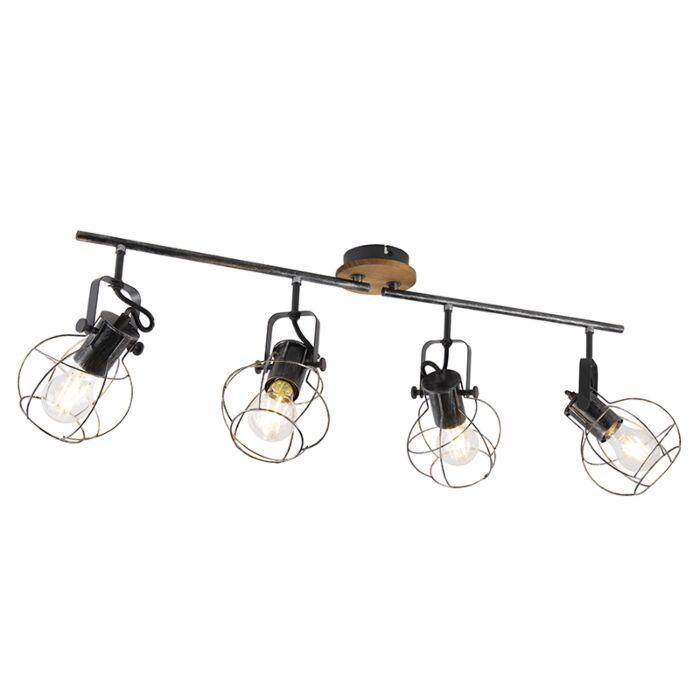 Industriële-plafondspot-staal-met-hout-83-cm-4-lichts--Torce