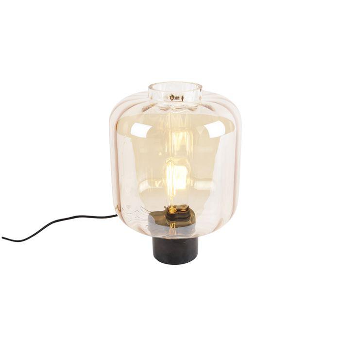 Design-tafellamp-zwart-met-amber-glas---Qara