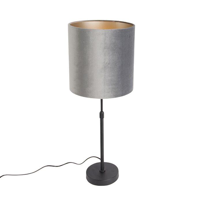 Tafellamp-zwart-met-kap-grijs-25-cm-verstelbaar---Parte