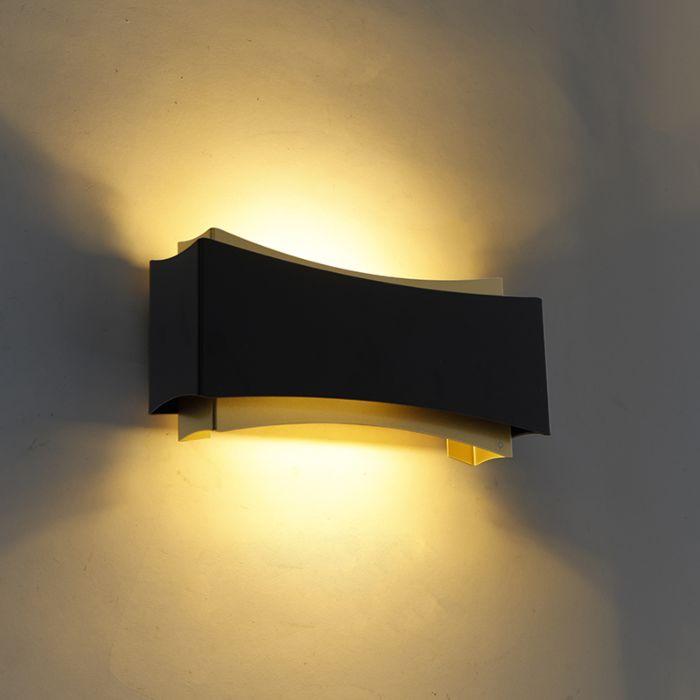 Moderne-wandlamp-zwart-met-goud---Plats