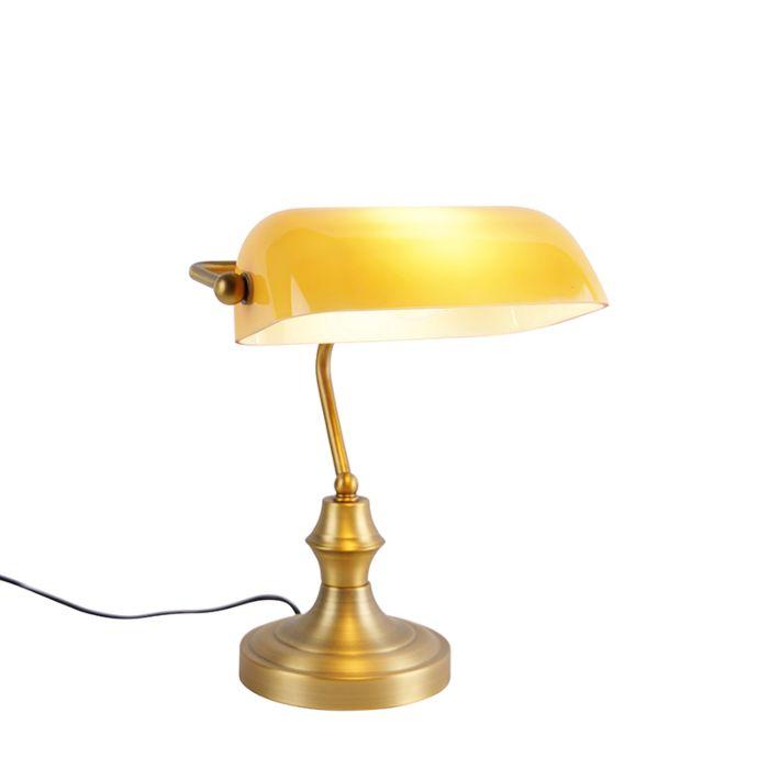 Klassieke-notarislamp-brons-met-amber-glas---Banker
