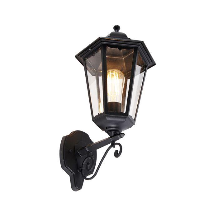 Klassieke-buiten-wandlamp-zwart-IP44---Havana-Up