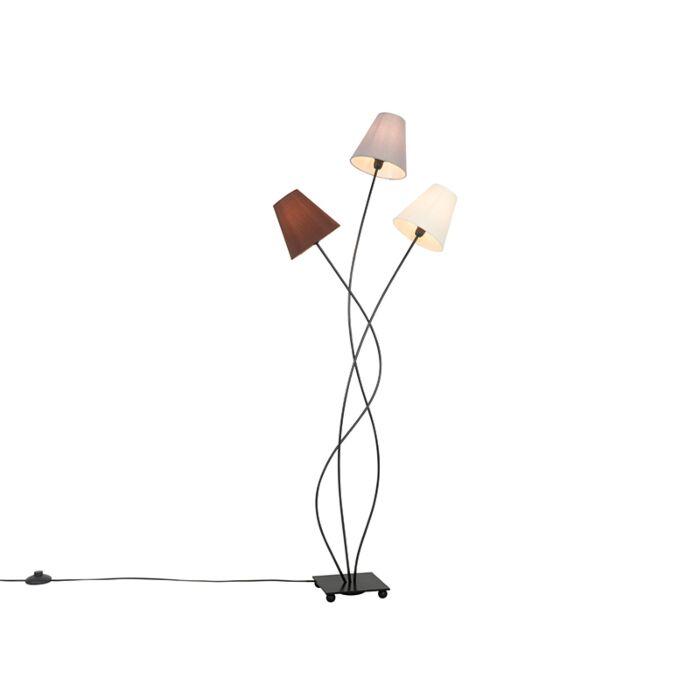 Design-vloerlamp-zwart-met-stoffen-kappen-3-lichts---Melis