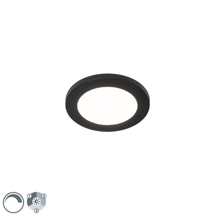 Plafonnière-zwart-17-cm-incl.-LED-3-staps-dimbaar-IP44---Steve