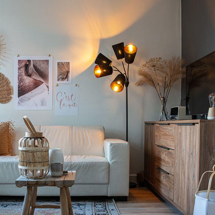 Moderne-vloerlamp-zwart-5-lichts---Carmen