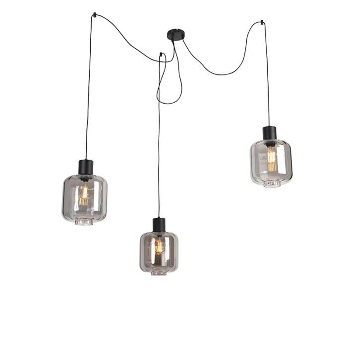 Design-hanglamp-zwart-met-smoke-glas-3-lichts-226-cm---Qara