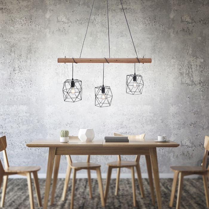 Industriële-hanglamp-zwart-met-hout-3-lichts---Mediena