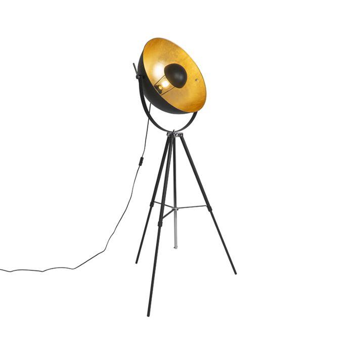 Vloerlamp-zwart-met-goud-51-cm-verstelbaar-tripod---Magnax