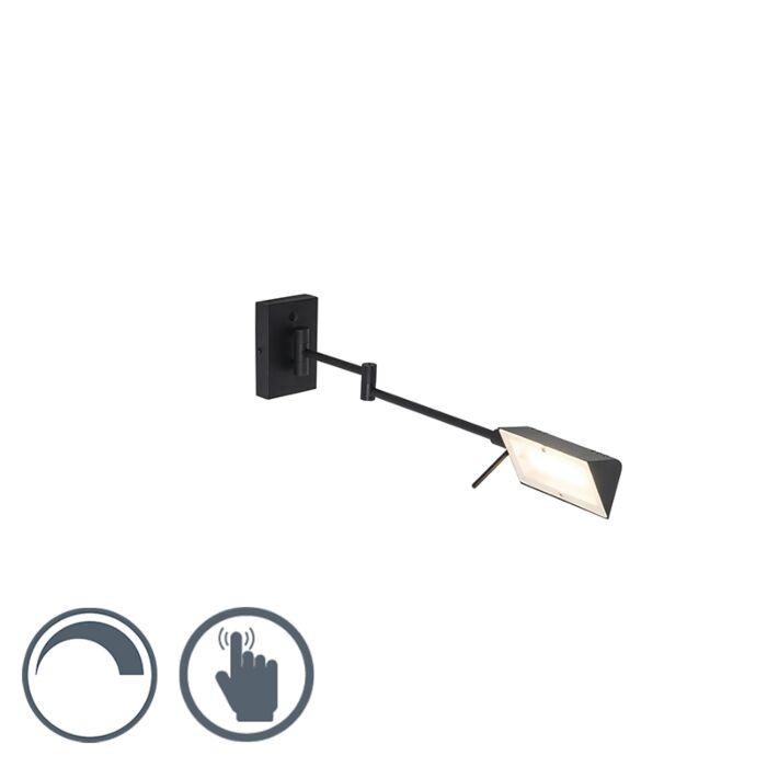 Design-wandlamp-zwart-incl.-LED-met-touch-dimmer---Notia