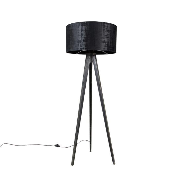 Vloerlamp-tripod-zwart-met-kap-zwart-50-cm---Tripod-Classic