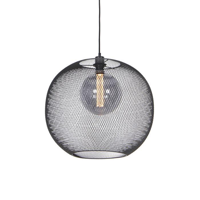 Moderne-hanglamp-zwart---Mesh-Ball