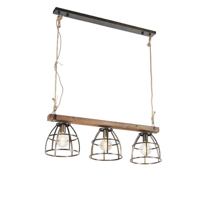 Industriële-hanglamp-zwart-met-hout-3-lichts---Arthur
