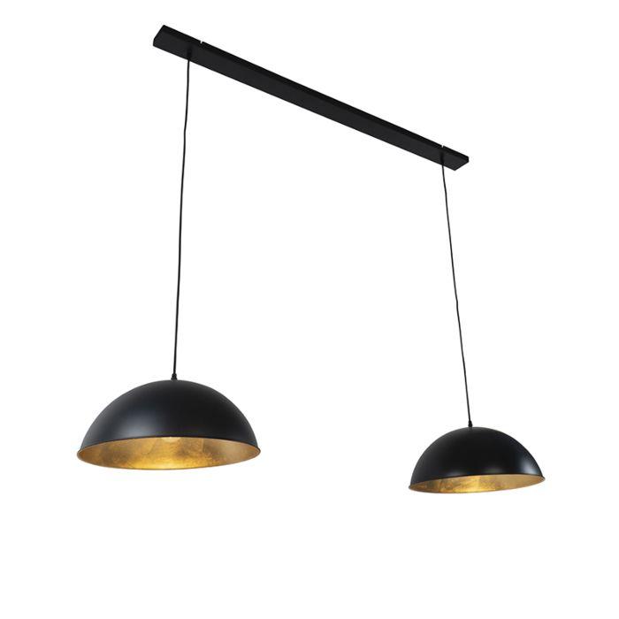 Industriële-hanglamp-zwart-met-goud-2-lichts---Magnax