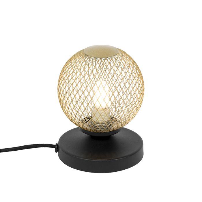 Moderne-tafellamp-zwart-met-goud---Athens-Wire