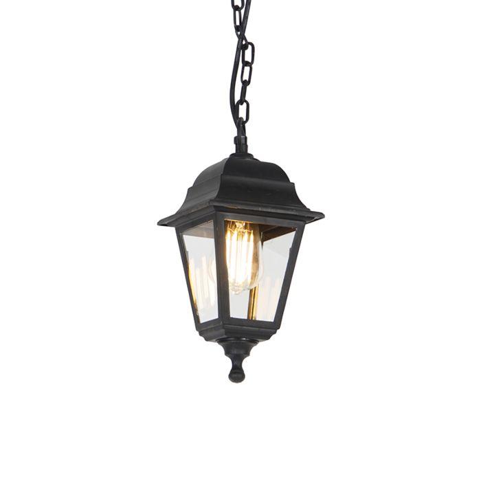 Klassieke-buiten-hanglamp-zwart-IP44---Capital