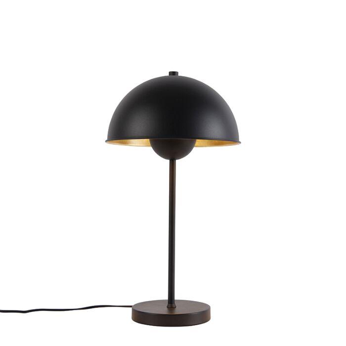 Retro-tafellamp-zwart-met-goud---Magnax