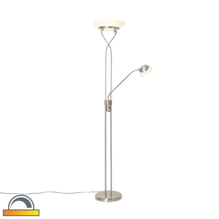 Vloerlamp-staal-incl.-LED-en-dimmer-met-leeslamp---Empoli