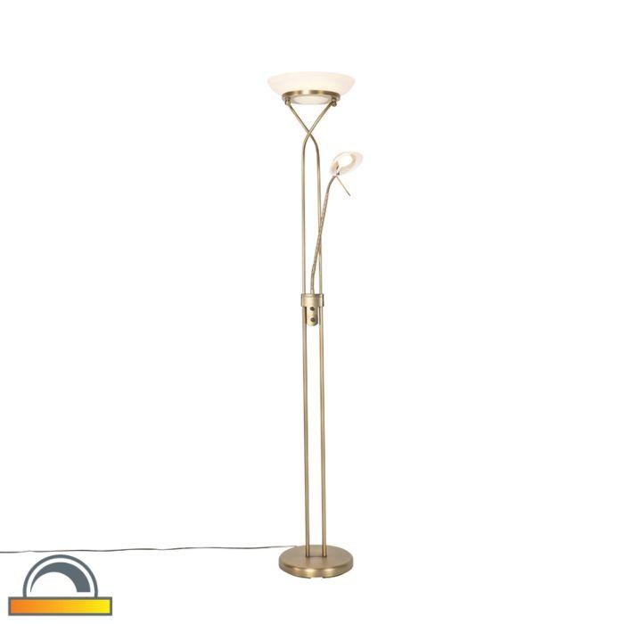 Vloerlamp-brons-met-leeslamp-incl.-LED-en-dim-to-warm---Empoli