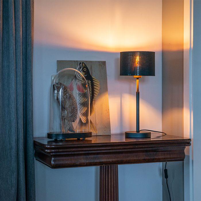 Moderne-tafellamp-stoffen-kap-zwart-met-goud---VT-1-