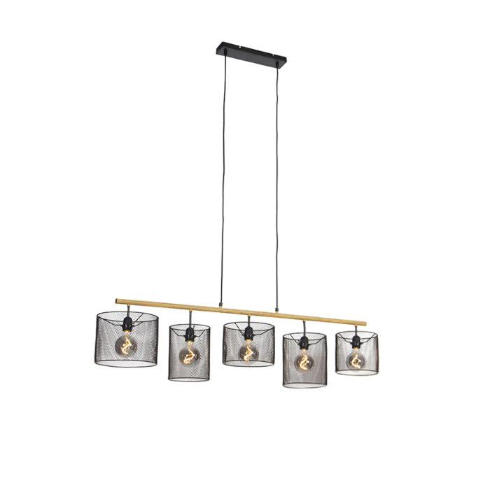 Industriële-hanglamp-zwart-5-lichts---Drum-Mesh