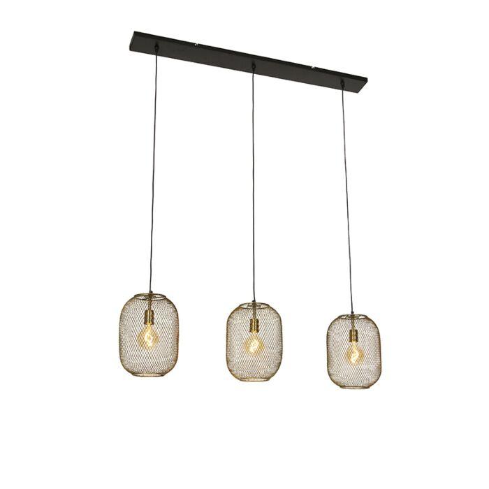 Moderne-hanglamp-messing-en-zwart-3-lichts---Waya-Mesh