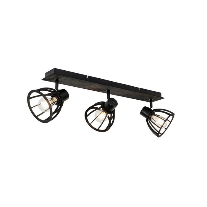 Industriële-plafondlamp-zwart-3-lichts---Fotu