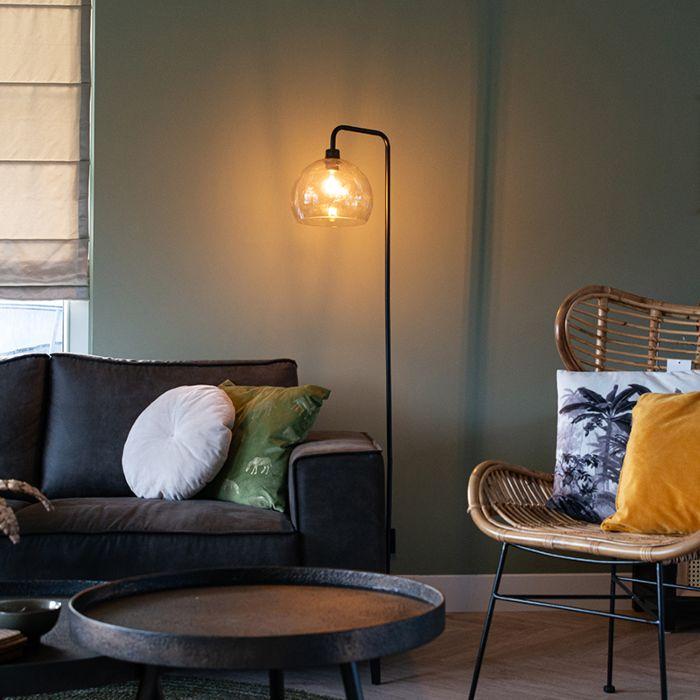 OUTLET---Moderne-vloerlamp-zwart-met-smoke-glas---Maly