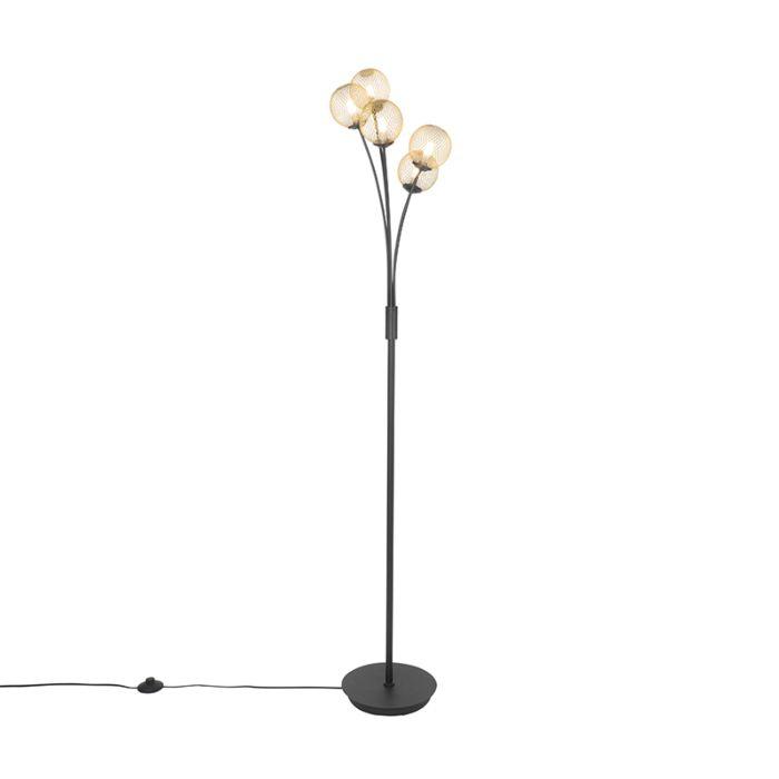 Moderne-vloerlamp-zwart-met-goud-5-lichts---Athens-Wire